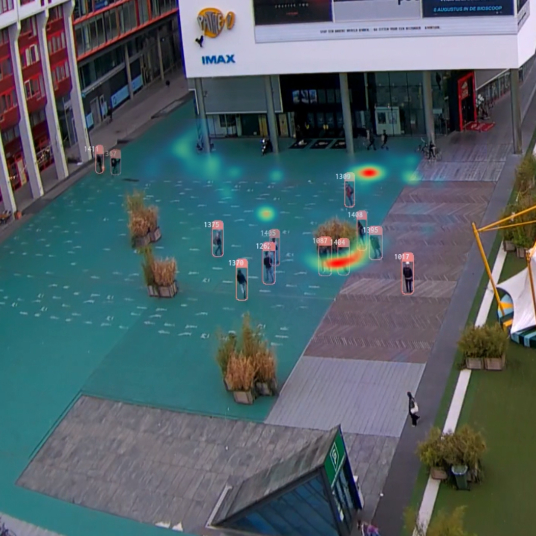 'Heat Map' showing concentration of activity in the square in from of the cinema and along 'invisible' pathways.